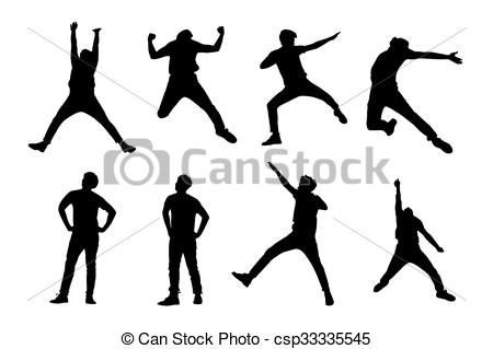 450x319 Silhouette Of Man Jump. Silhouette Of Success Man Jump And... Eps