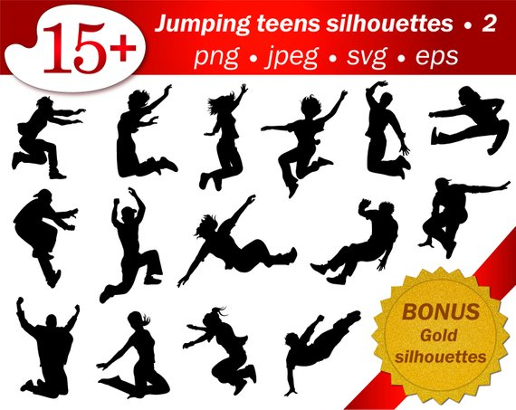 570x453 Teens Jumping Silhouette Man People Jump Vector Editable Svg Etsy