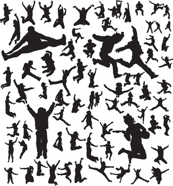 343x368 Free Jumping People Silhouettes Vector Free Vector Download