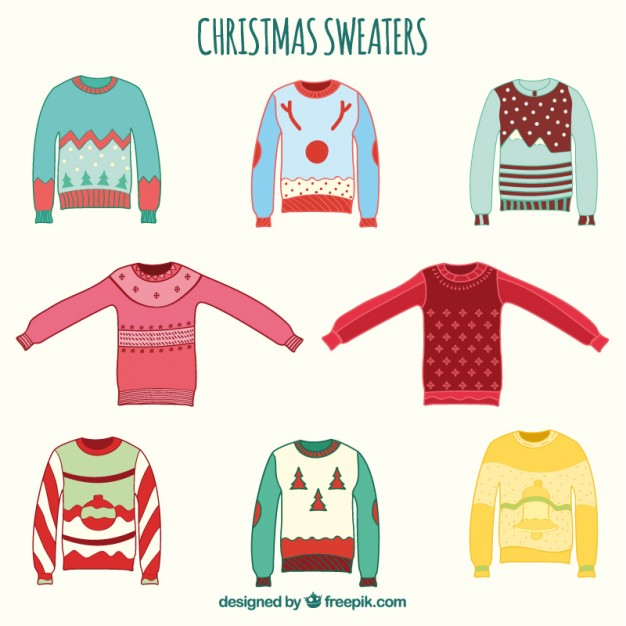 626x626 Hand Drawn Christmas Sweaters Vector Free Download