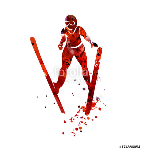 475x500 Vector Watercolor Silhouette Ski Jumper Stock Image And Royalty