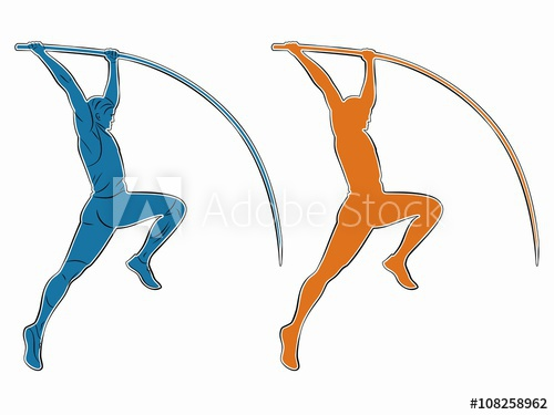500x375 Silhouette Of A Pole Jumper , Vector Drawing