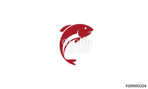 500x300 Fish Logo Vector, Jumping Fish Icon. Stock Image And Royalty Free