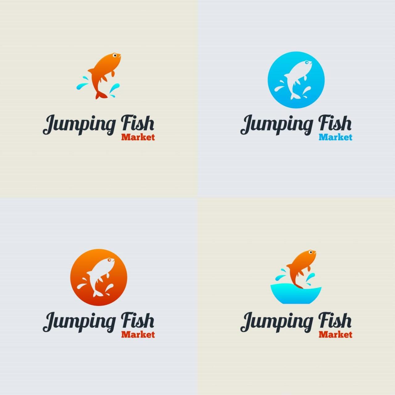 1280x1280 Free Vector Jumping Fish Vector Logo