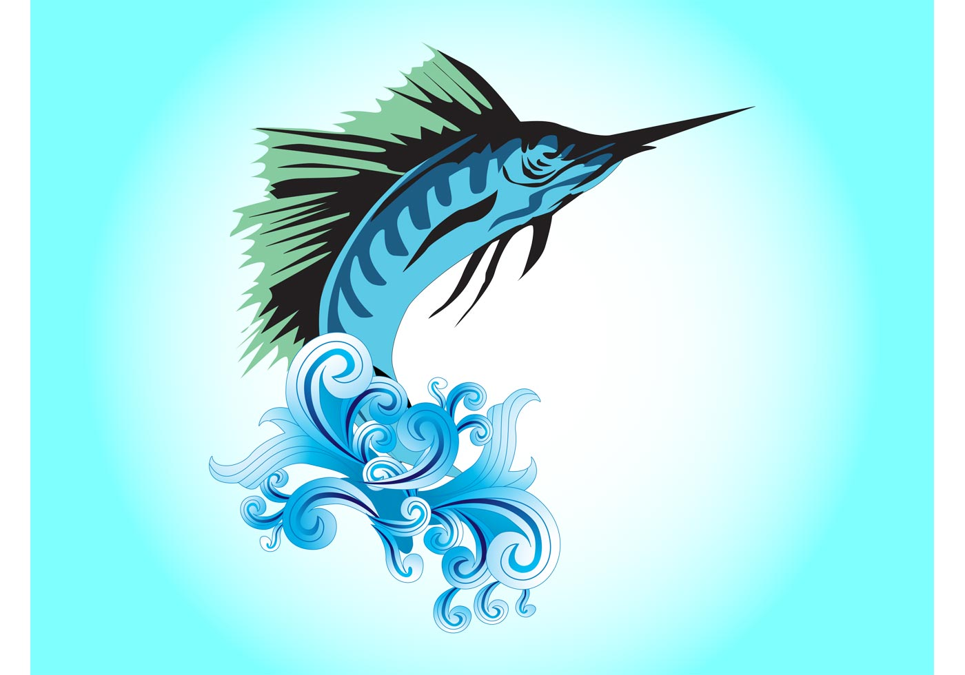 1400x980 Jumping Fish Free Vector Art