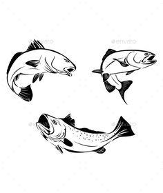 236x280 Jumping Fish Illustration Salmon Logo Fish