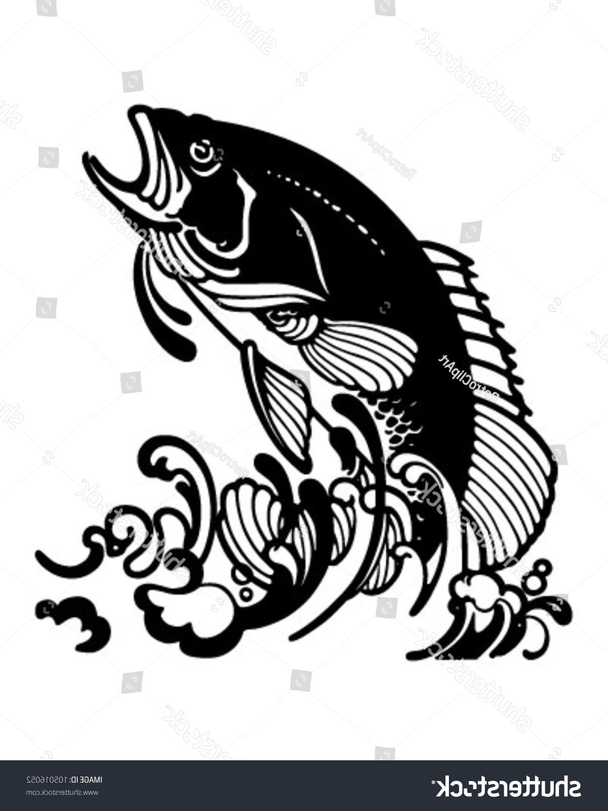 1200x1600 Best Hd Stock Vector Stylized Jumping Fish Retro Clipart
