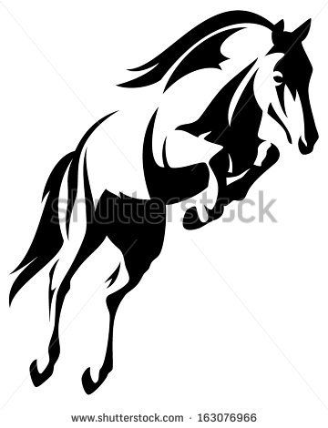 360x470 Beautiful Jumping Horse Black And White Vector Outline By