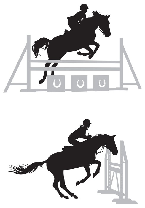 489x700 Show Jumping Horse Vector Silhouettes Wall Mural We