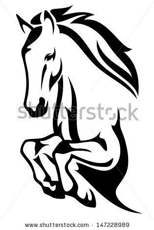 315x470 Jumping Horse Black And White Vector Outline By Cattallina, Via
