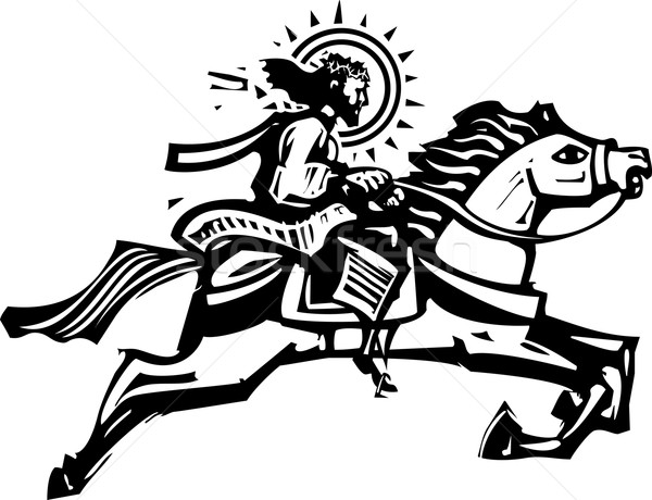 600x460 Christ On A Jumping Horse Vector Illustration Jeffrey Thompson
