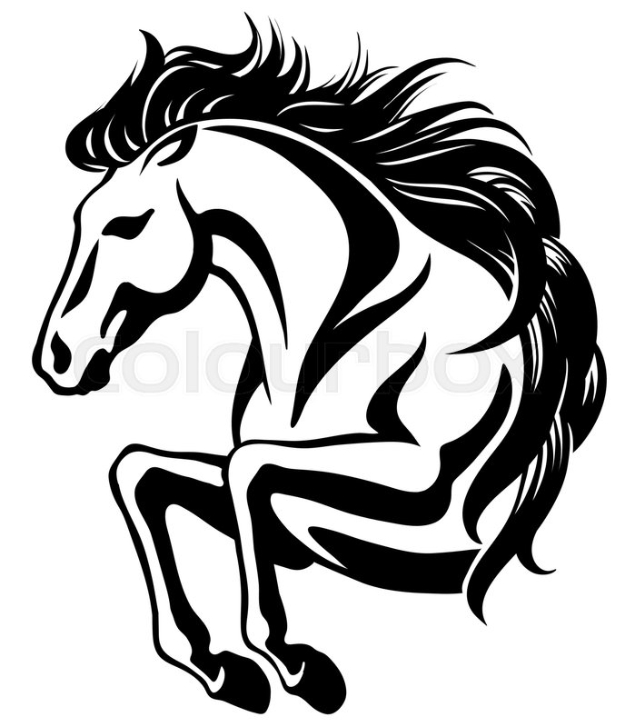 688x800 Clip Art Of Jumping Horse With Long Mane Stock Vector Colourbox