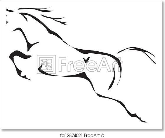 560x470 Free Art Print Of Black And White Vector Outlines Of Jumping Horse