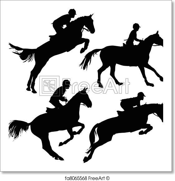 561x581 Free Art Print Of Jumping Horses With Riders. Jumping Horses With