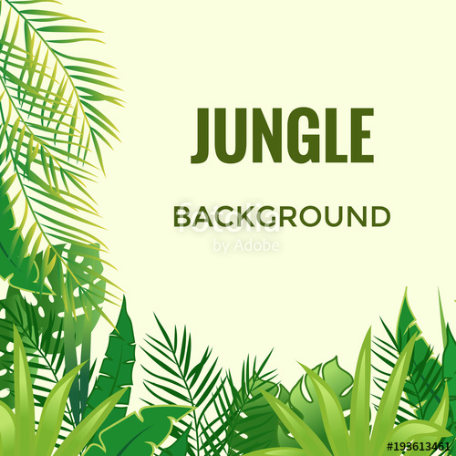 500x500 Jungle Background. Jungle Trees And Plants. Vector Illustration