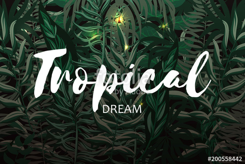 500x334 Pattern With Tropical Palm Leaves. Jungle. Vector Tropical