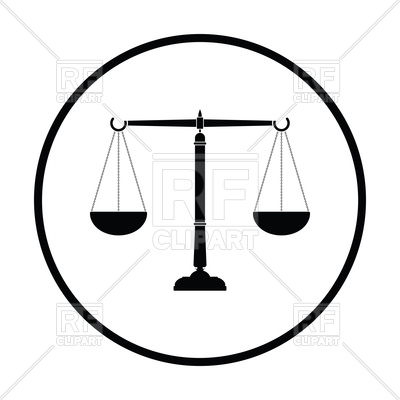 400x400 Thin Circle Design Of Justice Scale Icon Vector Image Vector