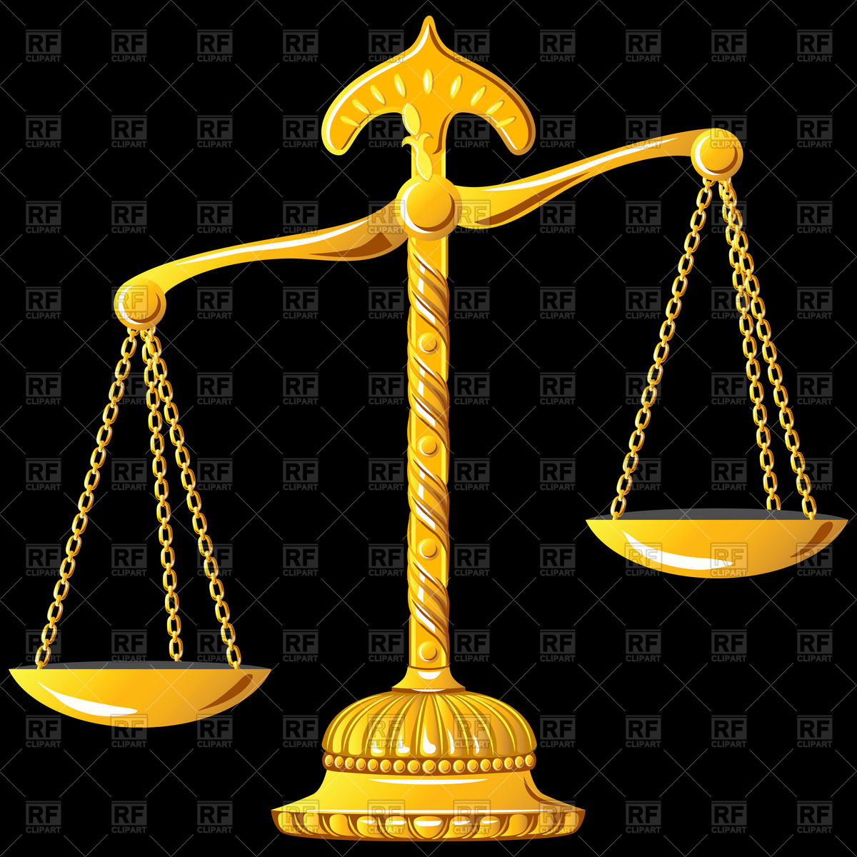 1200x1200 Unbalanced Ornate Golden Scales Of Justice Vector Image Vector