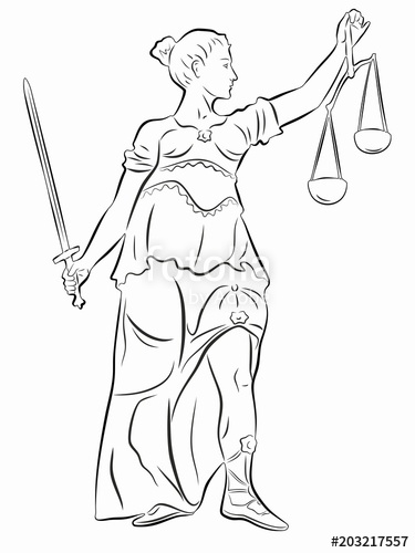 375x500 Illustration Of The Statue Of Justice , Vector Draw Stock Image