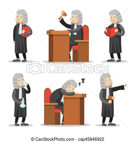 450x470 Judge Cartoon Character Set. Law And Justice. Vector Illustration.