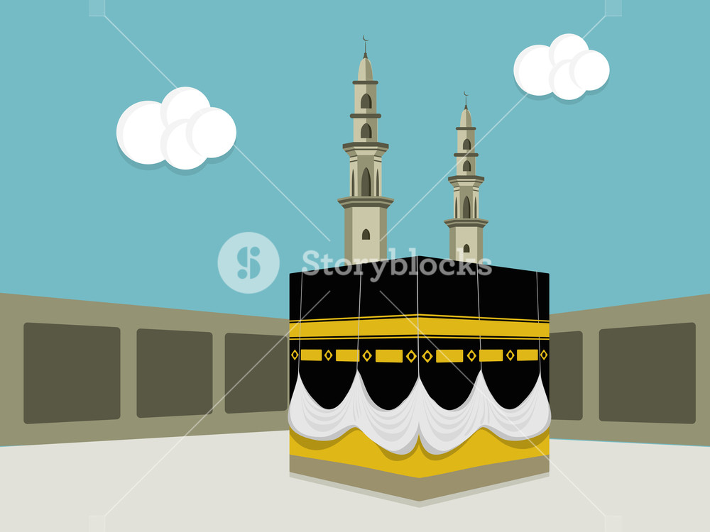 1000x750 Illustration Of Kaaba, Mekkah. Islamic Sacred Masjid Al Haram