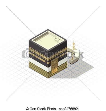 450x470 Isometric Masjid Al Haram The Sacred Mosque. Isometric Kaaba The