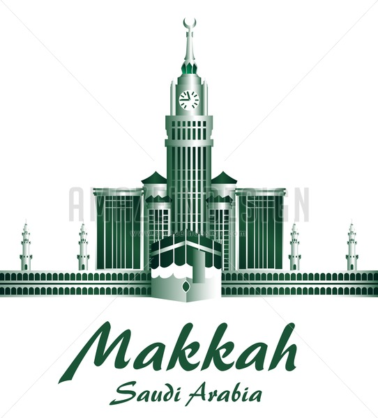 542x600 Makkah Vector Buildings With Kaaba