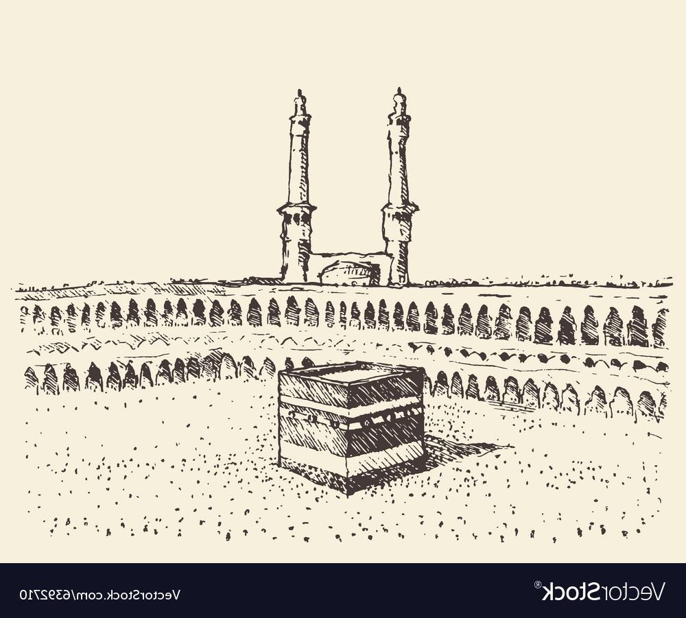 1000x901 Top Holy Kaaba Mecca Saudi Arabia Muslim Sketch Vector Design