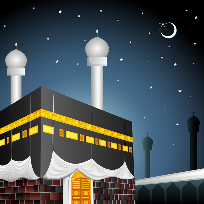 700x700 Vector Illustration Of Eid Mubarak (Blessing Fo Eid) With Kaaba