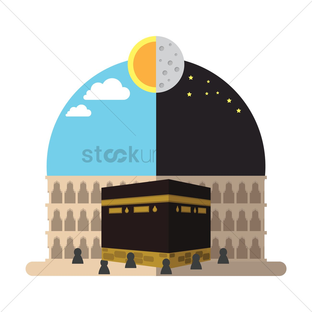 1300x1300 Holy Kaaba In Mecca Vector Image