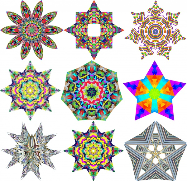600x582 Geometric Icons Vector Illustration With Kaleidoscope Pattern Free
