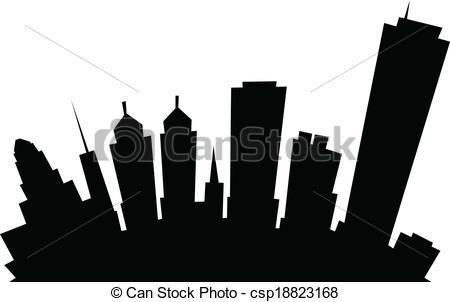 450x302 Cartoon Buffalo City Skyline. Cartoon Skyline Silhouette Of The
