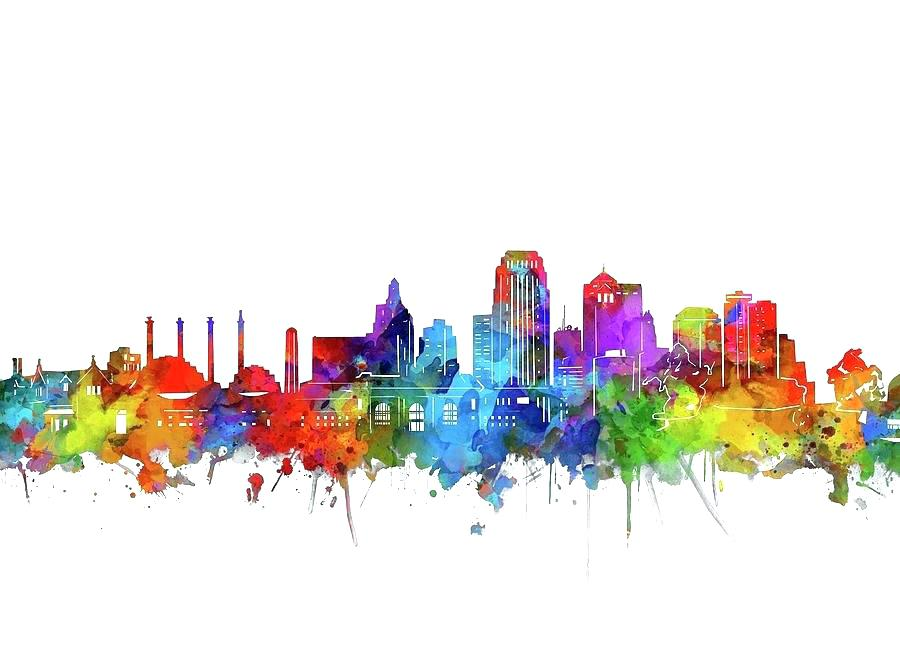 900x666 Kansas City Skyline Art City Skyline Art City Digital Art City