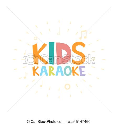 450x470 Kids Karaoke Party Vector Illustration. Kids Karaoke Party Cartoon