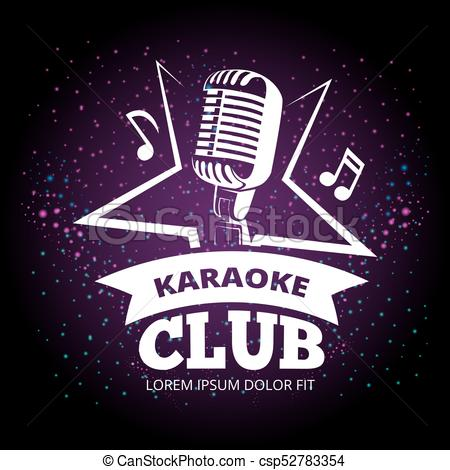 450x470 Shiny Karaoke Club Vector Label Design. Karaoke Music Club Label