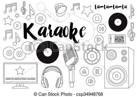 450x318 Theme Of Karaoke. Vector Theme Of Karaoke. Hand Drawn Set With
