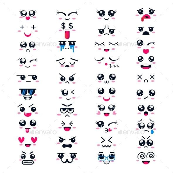 590x590 Kawaii Vector Cartoon Emoticons By Vectoristik Graphicriver