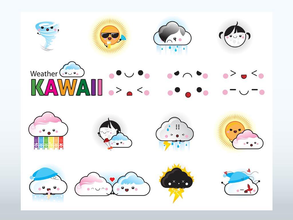 1024x768 Kawaii Weather Vectors Vector Art Amp Graphics
