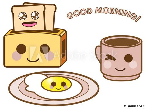 500x375 Kawaii Vector Food And Drink Set. Illustration Of Funny Breakfast