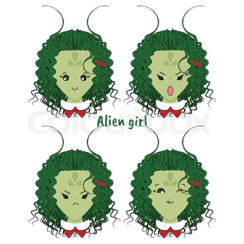 800x800 Kawaii Vector Icon Set. Curly Alien Girl With Different Funny