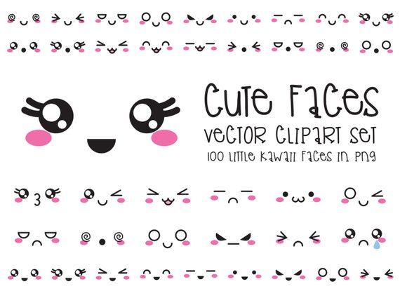 570x425 Premium Vector Clipart Kawaii Faces Cute Faces Clipart Set Etsy
