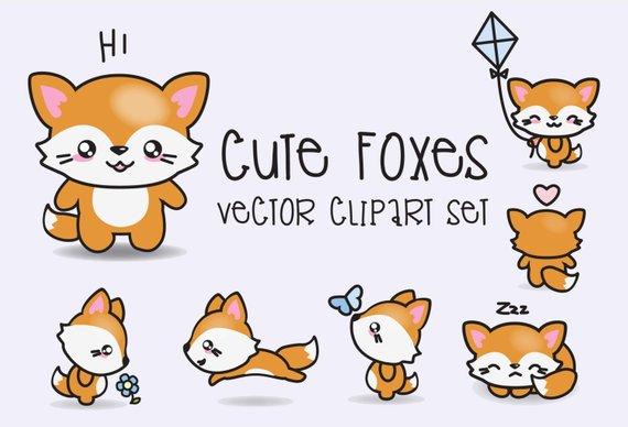 570x388 Premium Vector Clipart Kawaii Foxes Cute Foxes Clipart Set Etsy