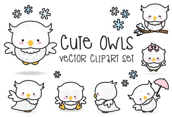 570x388 Premium Vector Clipart Kawaii Owls Cute Owls Clipart Set Etsy