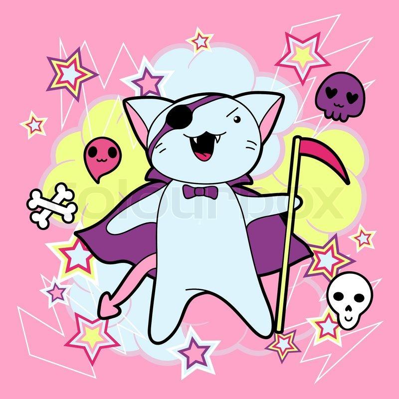 800x800 Vector Kawaii Illustration Halloween Cat And Creatures Stock