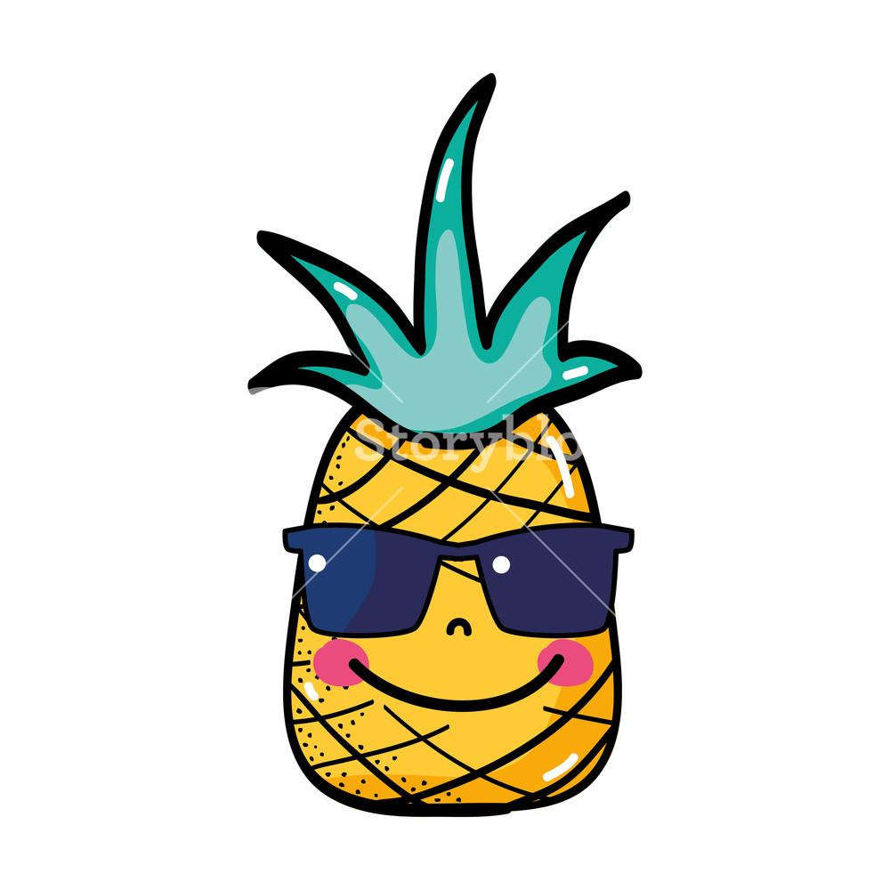 1000x1000 Happy Pineapple Fruit With Sunglasses Kawaii Vector Illustration