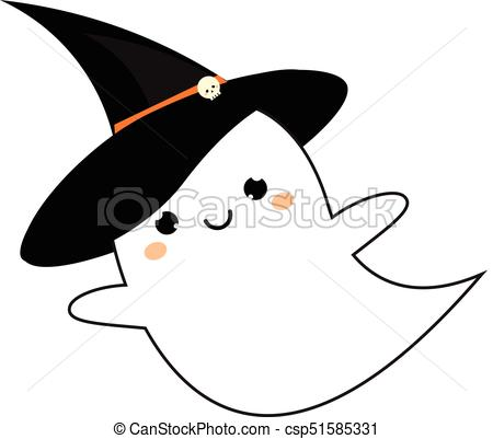 450x401 Cute Ghost In Kawaii Style In Halloween Hat. Vector Icon, Sticker.