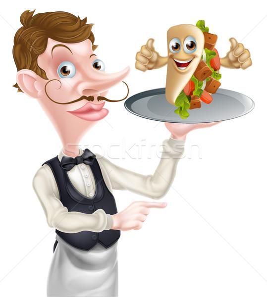 539x600 Cartoon Waiter Pointing And Kebab Vector Illustration Christos