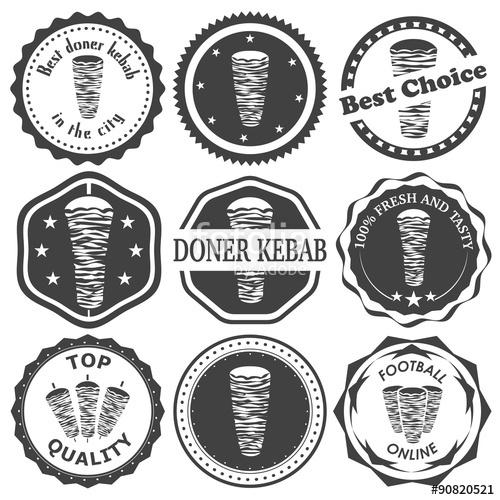 500x500 Set Of Retro Vintage Stamp For Doner Kebab. Vector Illustration
