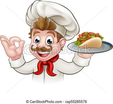 450x413 Cartoon Chef Kebab. A Cartoon Chef Character Holding A Kebab.
