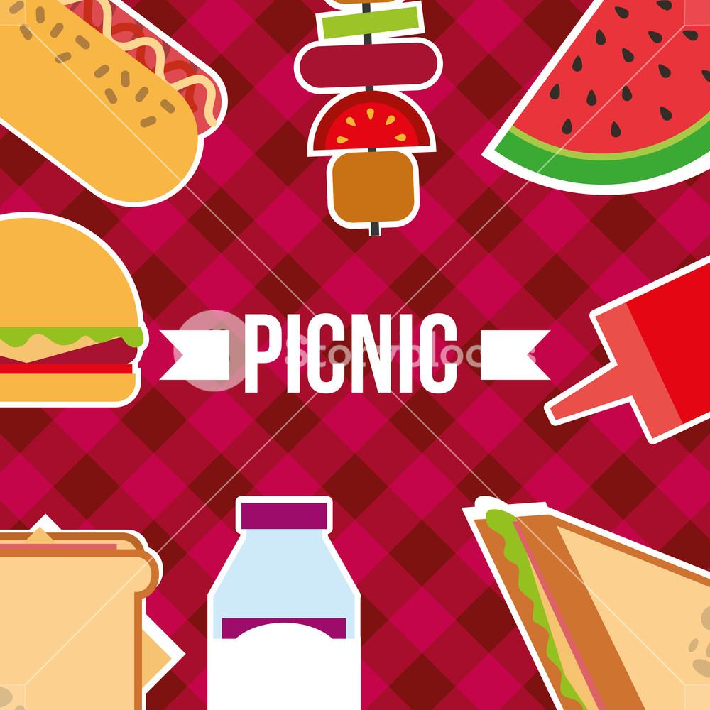 1000x1000 Picnic Poster Food Sandwich Fruits Burger Kebab Vector